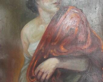 Antique 1924 oil painting woman portrait