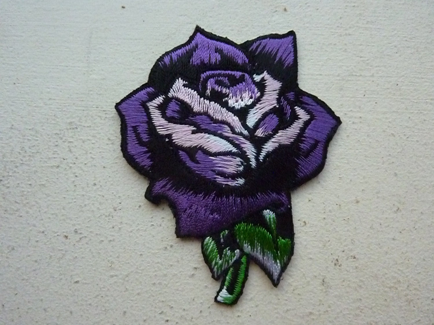 Small purple rose iron on embroidered patch biker tattoo punk