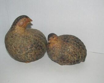 Vintage Pair of Brown Quails