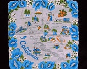 "California State Hankie 1950's Map Souvenir Handkerchief 13"" Square Hanky Blue Poppies Vintage Catalina Island Cotton 50s"