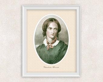 Charlotte Bronte Art Print - 19th Century - 8x10 PRINT Vintage - Portrait - Home Decor - Novelist, Fiction Author Jane Eyre - Item #535