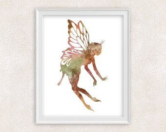 Fairy Art Watercolor Print - Home Decor - Childrens Wall Art 8x10 PRINT - Item #726A