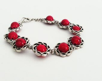 Red and Silver Celtic Knot Inspired Bracelet