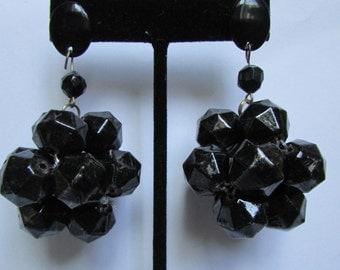 Vintage earring-  Black cluster drop earrings- 90s Jewelry