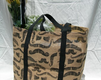 Burlap Market Tote with Mustaches