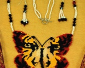 Tiger Butterfly Necklace and earrings