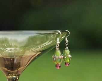 Green Glass Double Tear Drop Earrings