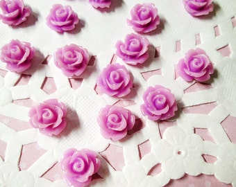 Orchid 10mm rose cabochons, cute flower cabs