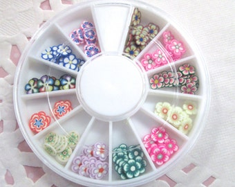 Assorted Polymer Clay Flower Slices, Nail Art Wheel, Over 120 pieces