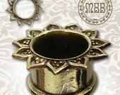 """Ornate Antiqued Brass Lotus Leaf Tunnels Tribal Plugs 8g, 0g, 00g, 12mm 1/2"""", 14mm 9/16"""", 16mm 5/8"""" 18mm Ear Gauges Double Flared Plug Gauge"""