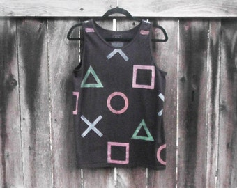 Hand-painted Playstation Button Tank