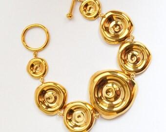 Gold bracelet, fashion handmade bracelet, gold plated bracelet, Rain Puddles collection
