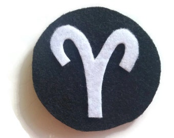 Aries Zodiac Iron On Patch - No Sew - Felt - You Pick the Colors