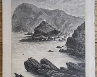 Antique Steel Engraving Print Ilfracombe, Devon: Vew from the Rocks at the Base of The Capstone c1880
