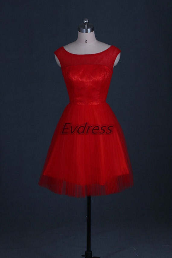 Short Red Tulle Lace Bridesmaid Dress 2016 Cute Women By Evdress