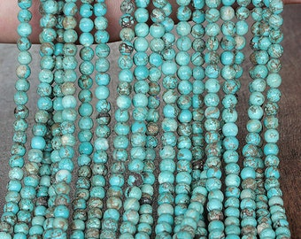 Natural Turquoise Round Beads 4 mm. Blue Turquoise Bead
