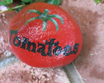 Painted tomatoes rock garden marker