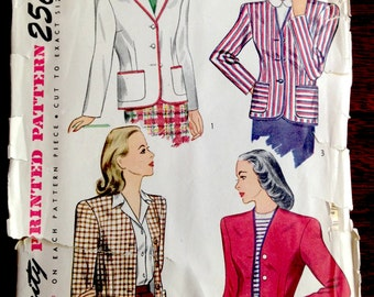 Simplicity 1550 - 1940s Woman's Jacket or Blazer in Four Styles - Size 20