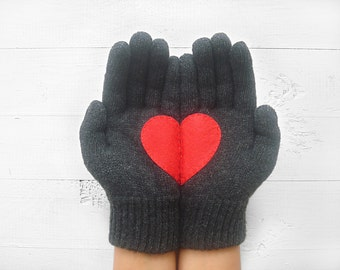 EXPRESS Shipping! VALENTINE'S Day Gift, Heart Gloves, Dark Grey Gloves, Red Heart, Special Gift, Valentine Gift Idea, Romantic, Lover Gift