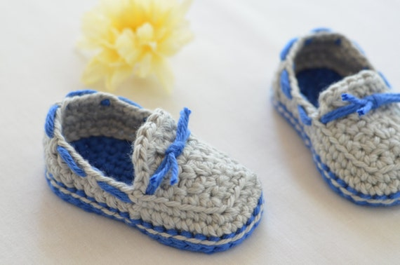 Items similar to Crocheted Baby Boat Shoes Baby Boy