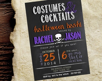 Halloween Invite / Invitation.  Costumes & Cocktails.  Chalkboard.  Adult Halloween Bash. 5x7 customizable.