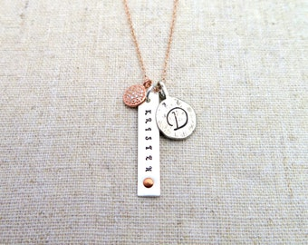 Rose Gold Pave Diamond Personalized Necklace • Tiny Pave Diamond Disc • Delicate • Initial • Name • Genuine Diamond • Sterling