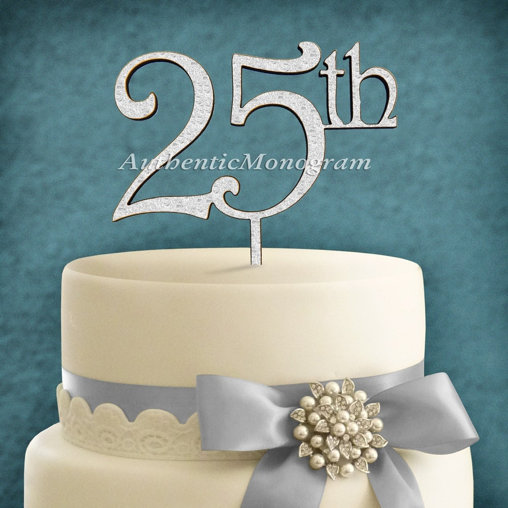 25th wedding anniversary cake toppers cake topper anniversary inch25thinch 6inch wooden 1073