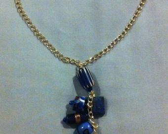 Deep Ocean Blue Glass Necklace