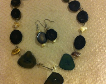 Dark Green and black Seed Necklace