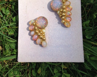 Gold & Opaline Radial Earrings by 1980s Icon Sandra Rubel