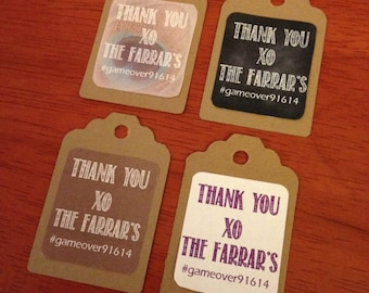 Personalized Favor/Gift Tags on Brown Kraft Cardstock (Set of 25)