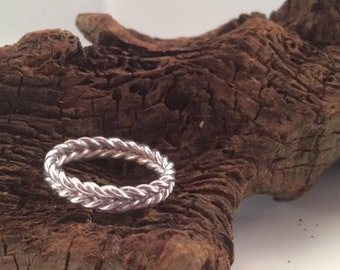 Silver Twist Ring, Double twisted wheat grain ring, Optical illusion ring, stacking ring, sterling silver handmade MADE TO ORDER