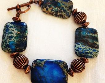 Caribbean Blue Jasper and Copper Plated Beaded Bracelet