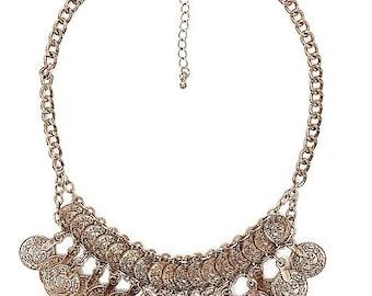 Coin statement necklace, Boho necklace , Gypsy necklace, Bohemian necklace, Tribal necklace, coin necklace, Coachella necklace.