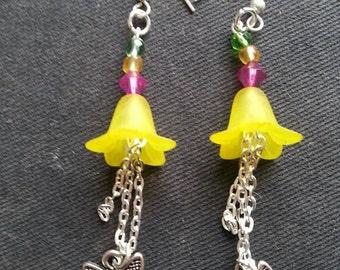 pretty butterfly to flower earrings