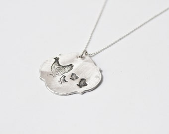 Momma Hen - Mother Hen and Chicks - Necklace