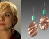 As Seen on Cedar Cove Bohemian Folded Copper Earrings with Turquoise Handmade by Laura Bracken