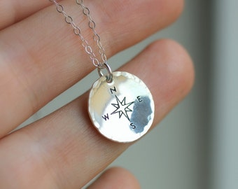 Compass Necklace, Friendship Necklace, Best Friend Gift, Traveler Necklace, Graduation Gift, Not all who wander lost, Long Distance Friend
