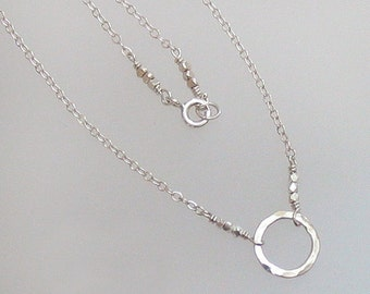 Sterling Silver Circle of Life Necklace Hammered Circle Chain Bead DJStrang Minimalist Boho Chic Zen