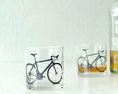 4 bicycle pint or rocks glasses, screen printed bike glassware