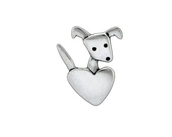 Sterling Silver Dog Necklace - Pocket Pup Pendant - Puppy with Heart