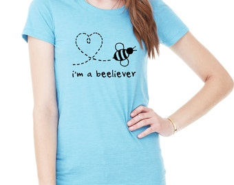 I'm a Beeliever bee heart love FITTED tshirt t shirt scoopneck tee save bees
