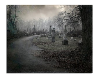 Graveyard, Eerie, Dark Art, Fall, Surreal, Photograph, Print, Gothic Decor, Cemetery, Necropolis, Halloween, Gray - What's Around The Bend