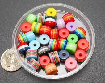 30 Multi Stripe Acrylic Beads resin stripes 8mm (H2293)