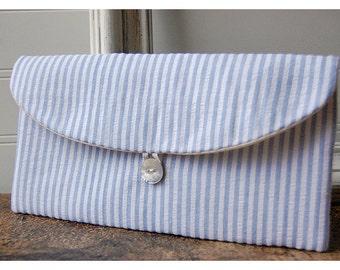 Blue clutch seersucker purse Wedding  Clutch, Bridal Purse, beach Holiday Gift, stocking stuffer Bridesmaid Clutch, Wedding Accessory