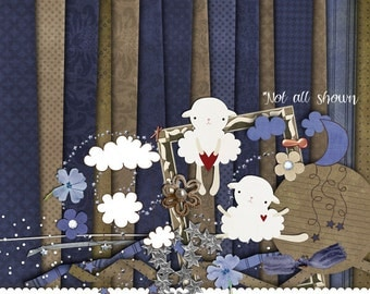 Digital Scrapbook Kit- Blue Moon, Wishing on a Star and Counting Sheep
