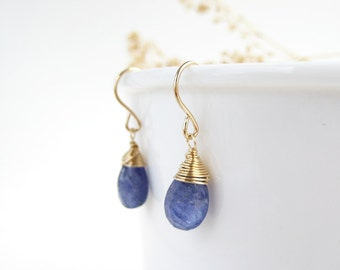 Genuine Tanzanite Earrings - December birthstone, periwinkle blue purple gemstone drop, dainty wire wrapped 14k gold filled