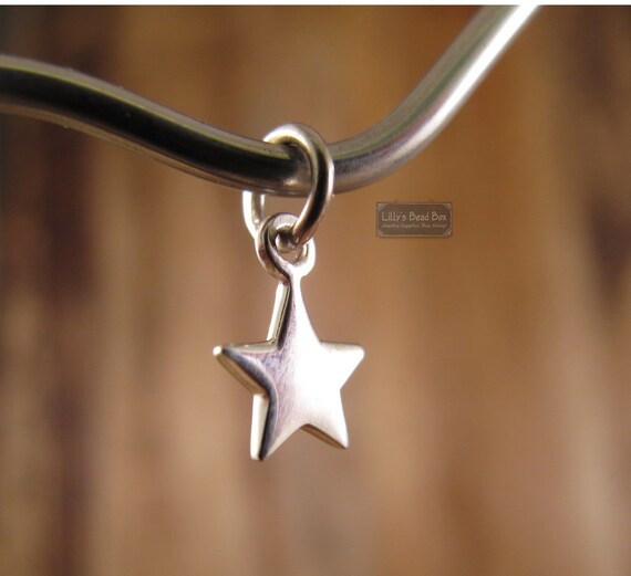 Tiny Star Charm, Sterling Silver Star Pendant, Small Lucky Star Charm for Making Jewelry (Ch 862)
