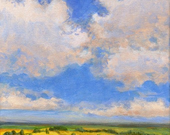 Summer Clouds - Original Landscape Painting 8x8 Blue Green Yellow Sky Clouds