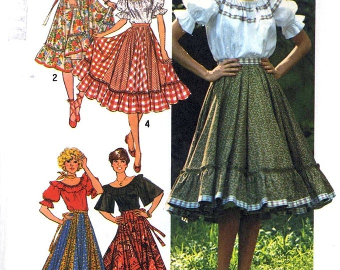 Peasant top pattern and peasant skirt Vintage 70s Sewing pattern Simplicity 7842 Size 14 Uncut